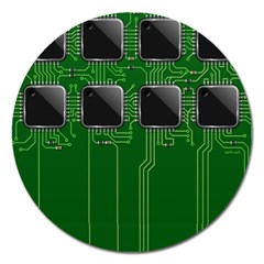 Green Circuit Board Pattern Magnet 5  (round) by Nexatart