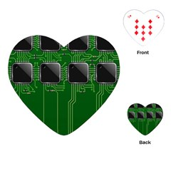 Green Circuit Board Pattern Playing Cards (heart)  by Nexatart