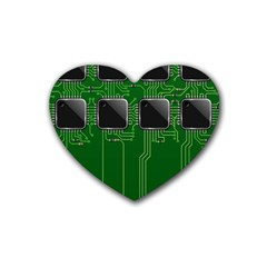 Green Circuit Board Pattern Rubber Coaster (heart)