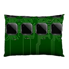 Green Circuit Board Pattern Pillow Case by Nexatart