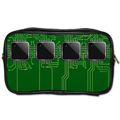 Green Circuit Board Pattern Toiletries Bags