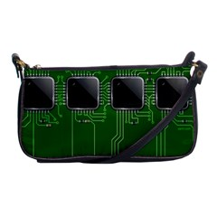 Green Circuit Board Pattern Shoulder Clutch Bags by Nexatart