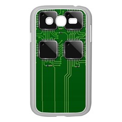Green Circuit Board Pattern Samsung Galaxy Grand Duos I9082 Case (white) by Nexatart