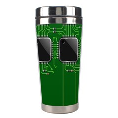 Green Circuit Board Pattern Stainless Steel Travel Tumblers by Nexatart