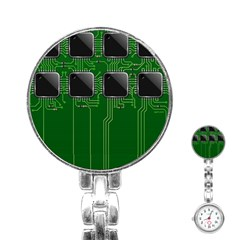 Green Circuit Board Pattern Stainless Steel Nurses Watch by Nexatart