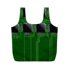 Green Circuit Board Pattern Full Print Recycle Bags (m)