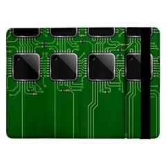 Green Circuit Board Pattern Samsung Galaxy Tab Pro 12 2  Flip Case