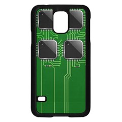 Green Circuit Board Pattern Samsung Galaxy S5 Case (black) by Nexatart