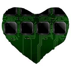 Green Circuit Board Pattern Large 19  Premium Flano Heart Shape Cushions