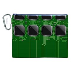Green Circuit Board Pattern Canvas Cosmetic Bag (xxl) by Nexatart