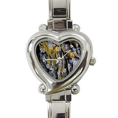 Grey Yellow Stone Heart Italian Charm Watch