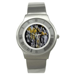 Grey Yellow Stone Stainless Steel Watch