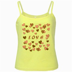 Love Valentine S Day 3d Fabric Yellow Spaghetti Tank by Nexatart