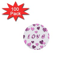 Love Valentine S Day 3d Fabric 1  Mini Buttons (100 Pack)