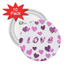 Love Valentine S Day 3d Fabric 2 25  Buttons (10 Pack)  by Nexatart