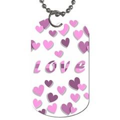 Love Valentine S Day 3d Fabric Dog Tag (two Sides) by Nexatart