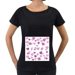 Love Valentine S Day 3d Fabric Women s Loose Fit T Shirt (black)