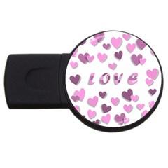 Love Valentine S Day 3d Fabric Usb Flash Drive Round (4 Gb) by Nexatart