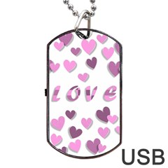 Love Valentine S Day 3d Fabric Dog Tag Usb Flash (two Sides) by Nexatart