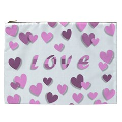 Love Valentine S Day 3d Fabric Cosmetic Bag (xxl)  by Nexatart