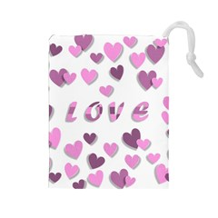 Love Valentine S Day 3d Fabric Drawstring Pouches (large)  by Nexatart