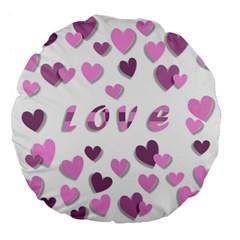 Love Valentine S Day 3d Fabric Large 18  Premium Flano Round Cushions by Nexatart