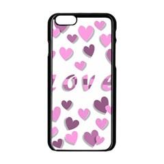 Love Valentine S Day 3d Fabric Apple Iphone 6/6s Black Enamel Case by Nexatart