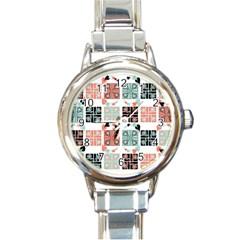 Mint Black Coral Heart Paisley Round Italian Charm Watch