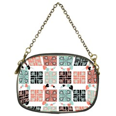 Mint Black Coral Heart Paisley Chain Purses (one Side)