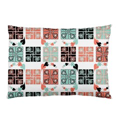 Mint Black Coral Heart Paisley Pillow Case by Nexatart