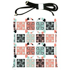 Mint Black Coral Heart Paisley Shoulder Sling Bags