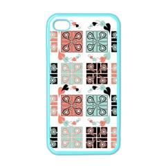 Mint Black Coral Heart Paisley Apple Iphone 4 Case (color)