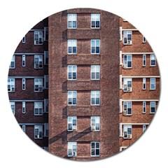 New York Building Windows Manhattan Magnet 5  (round)