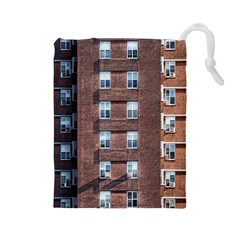 New York Building Windows Manhattan Drawstring Pouches (large)  by Nexatart