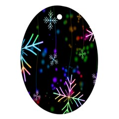 Nowflakes Snow Winter Christmas Ornament (oval)