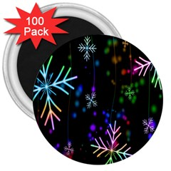 Nowflakes Snow Winter Christmas 3  Magnets (100 Pack) by Nexatart