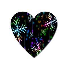 Nowflakes Snow Winter Christmas Heart Magnet by Nexatart