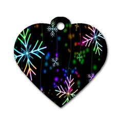 Nowflakes Snow Winter Christmas Dog Tag Heart (one Side) by Nexatart