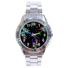 Nowflakes Snow Winter Christmas Stainless Steel Analogue Watch by Nexatart