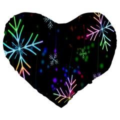 Nowflakes Snow Winter Christmas Large 19  Premium Flano Heart Shape Cushions