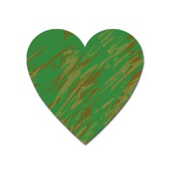 Brown Green Texture                                                  			magnet (heart) by LalyLauraFLM
