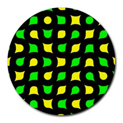 Yellow green shapes                                                     			Round Mousepad by LalyLauraFLM