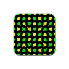 Yellow Green Shapes                                                     			rubber Square Coaster (4 Pack by LalyLauraFLM