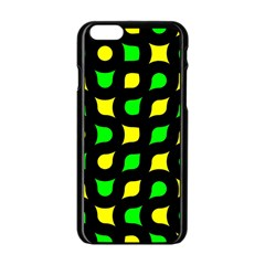 Yellow Green Shapes                                                    			apple Iphone 6/6s Black Enamel Case by LalyLauraFLM