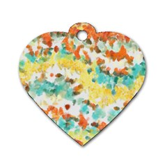 Retro Watercolors                                                      			dog Tag Heart (one Side) by LalyLauraFLM