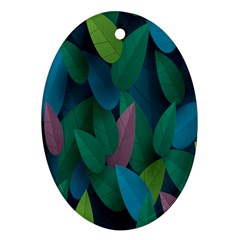 Leaf Rainbow Oval Ornament (two Sides) by Jojostore