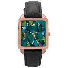 Leaf Rainbow Rose Gold Leather Watch  by Jojostore