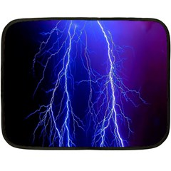 Lightning Electricity Elements Danger Night Lines Patterns Ultra Double Sided Fleece Blanket (Mini)