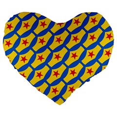 Images Album Heart Frame Star Yellow Blue Red Large 19  Premium Heart Shape Cushions by Jojostore
