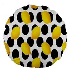 Orange Lime Fruit Yellow Hole Large 18  Premium Flano Round Cushions by Jojostore